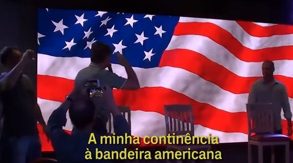 Bolsonaro salutes the US flag